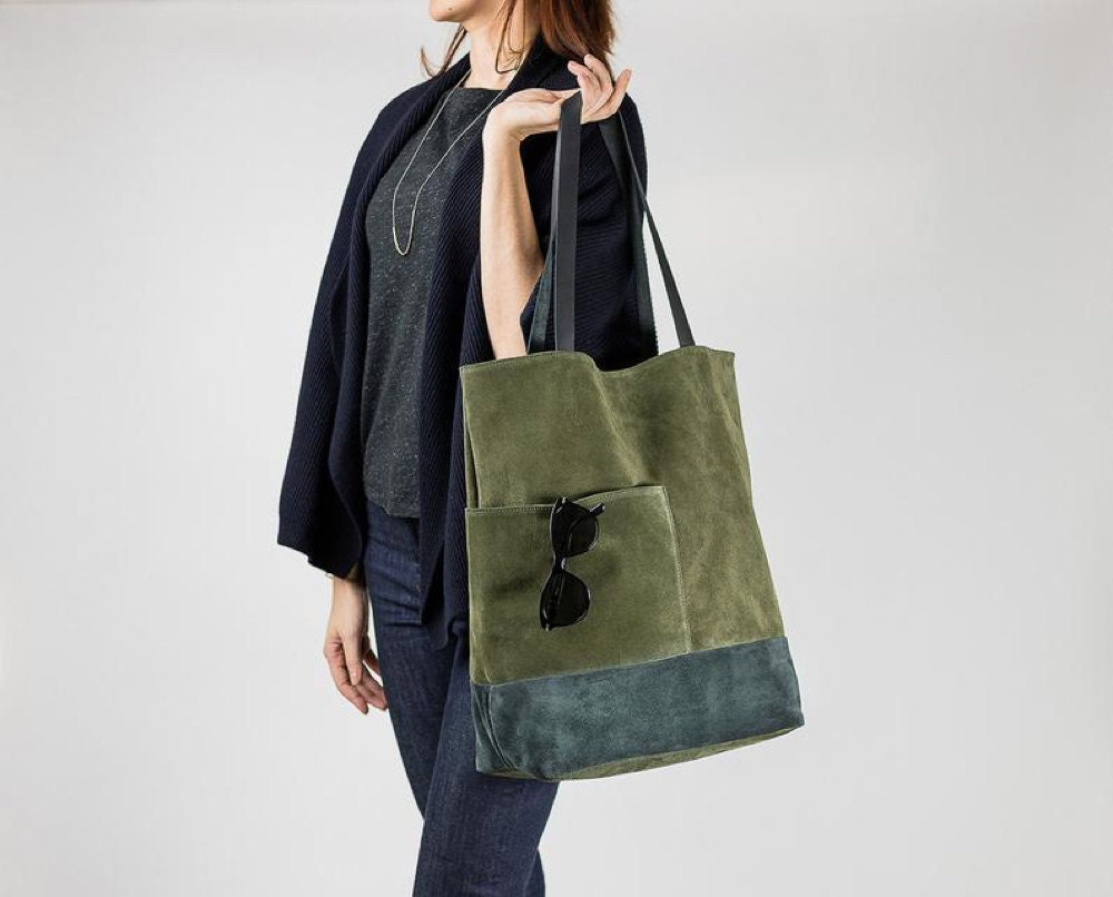 Suede leather tote with pockets from Boejack Design