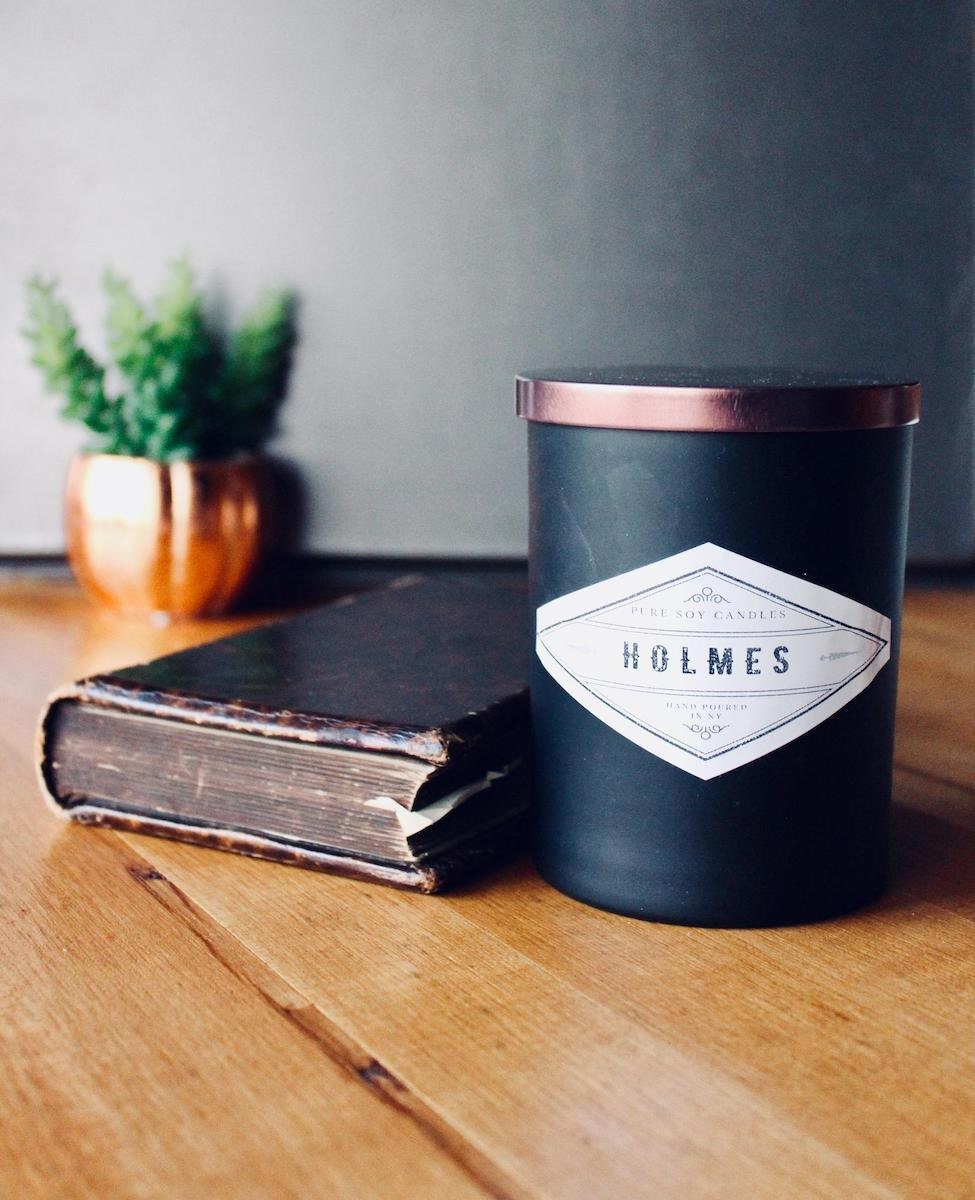 Leather-scented candle from Holmes Soy Candles, and more of the best dad gifts from Etsy
