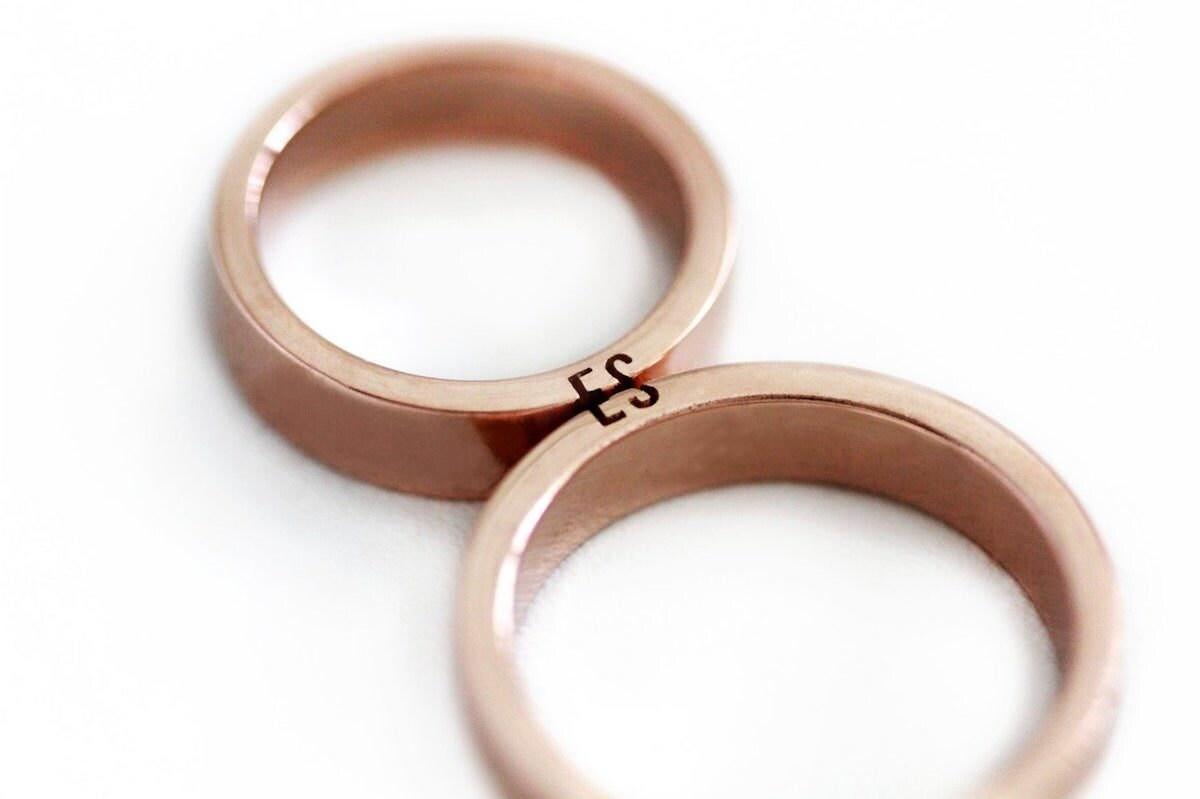 Pair of custom couple rings from Cadi Jewelry