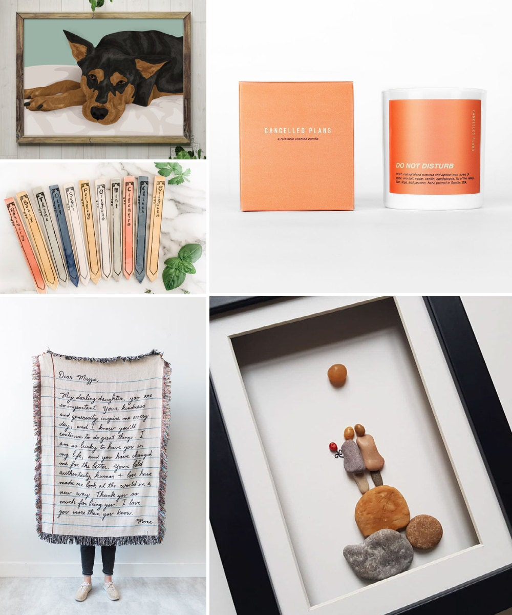 A collage of comforting birthday gift ideas hand-picked for Cancer.