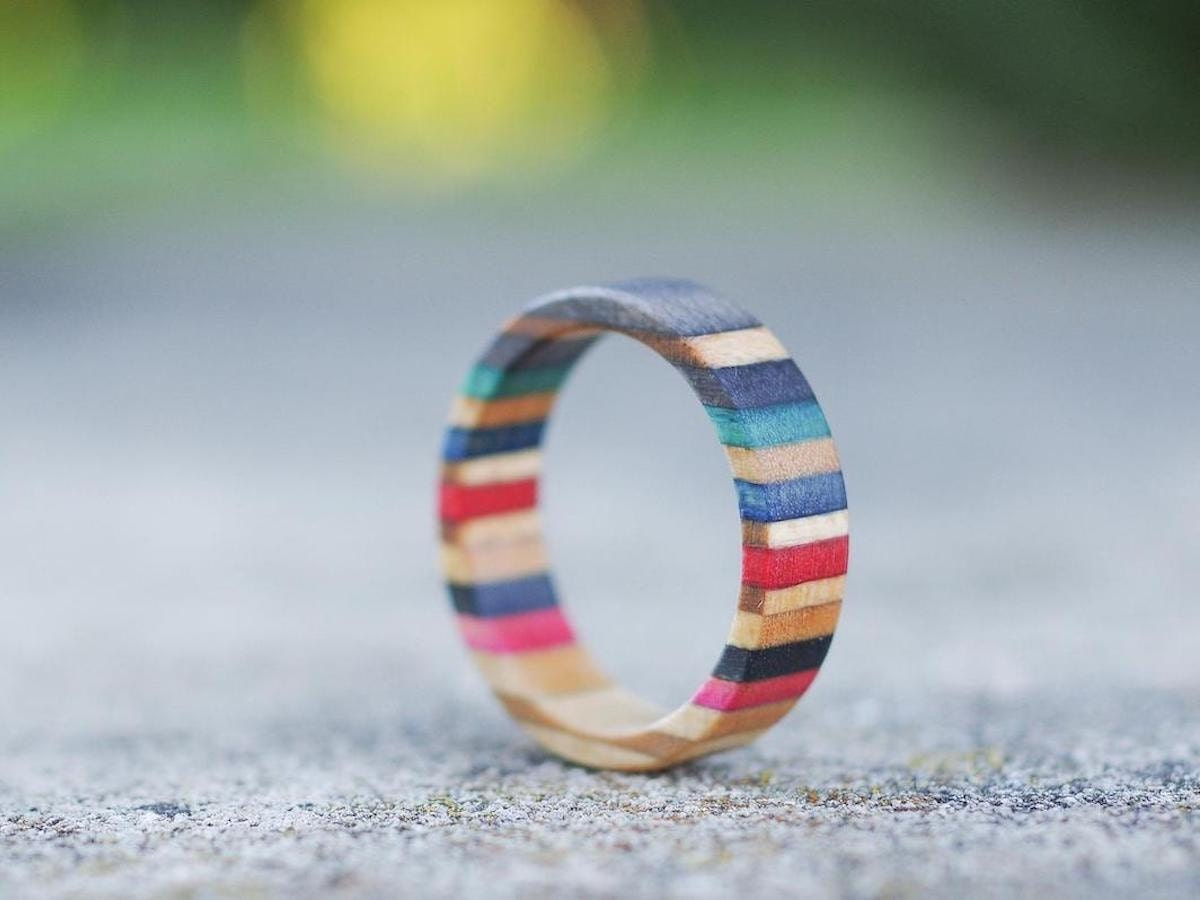 Skateboard recycled wood ring from 7PLIS, and more of the best dad gifts on Etsy