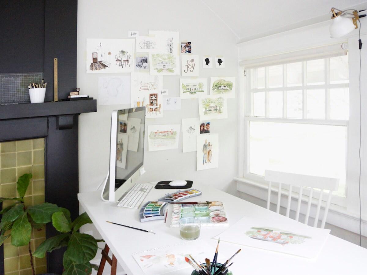 Samantha's desk set-up in her home studio
