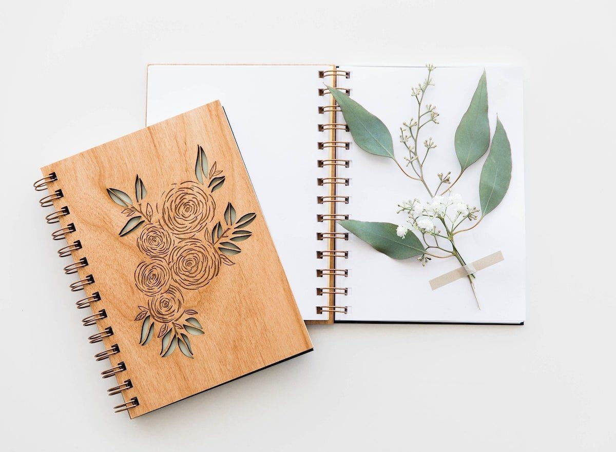 Wooden ranunculus journal from Hereafter