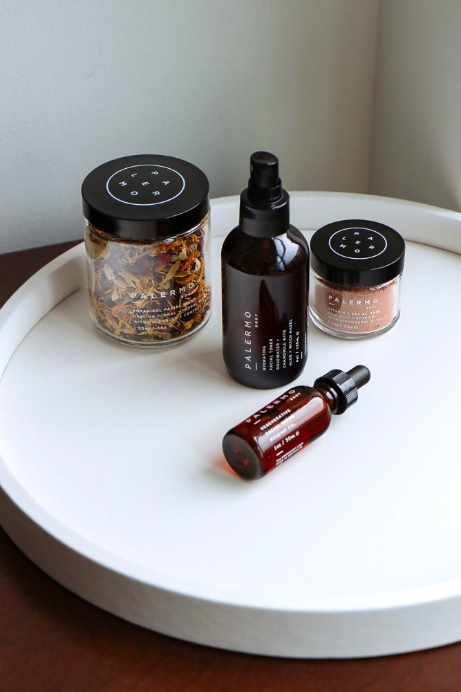 Curated image with Botanical facial steam, $35; hydrating facial toner, $30; pink clay mask, $43, all from Palermo Body