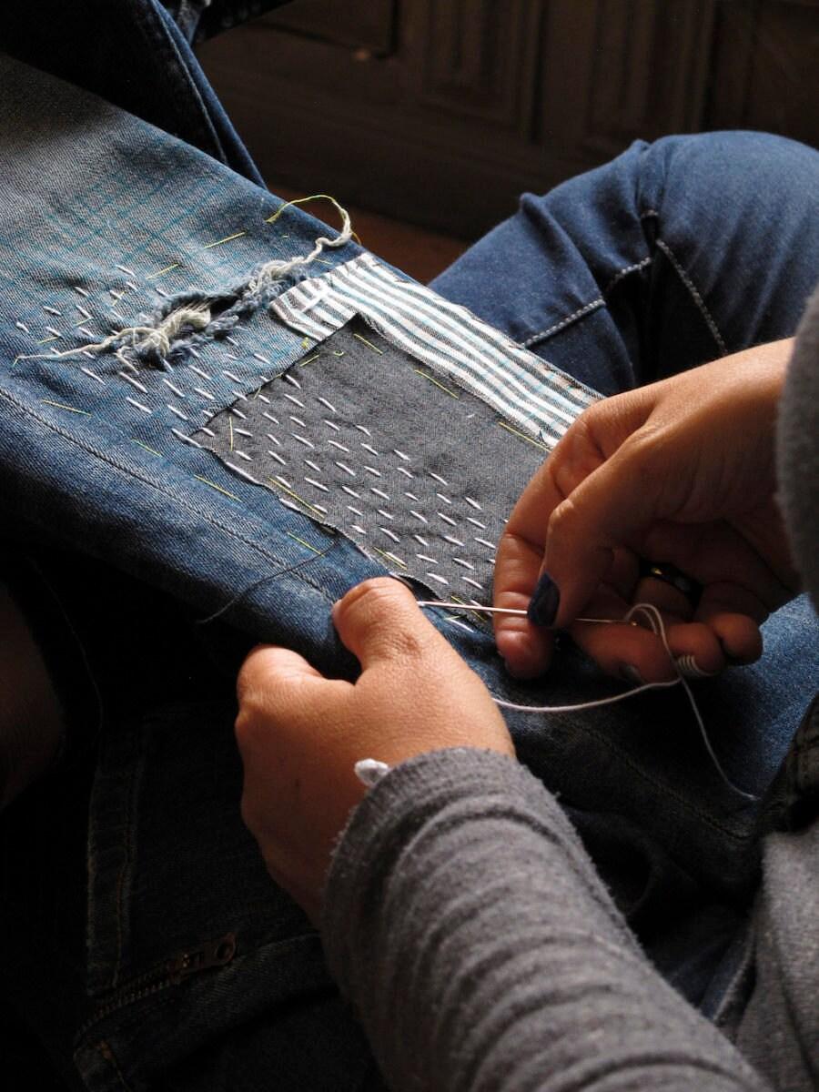 Sashiko stitching in progress