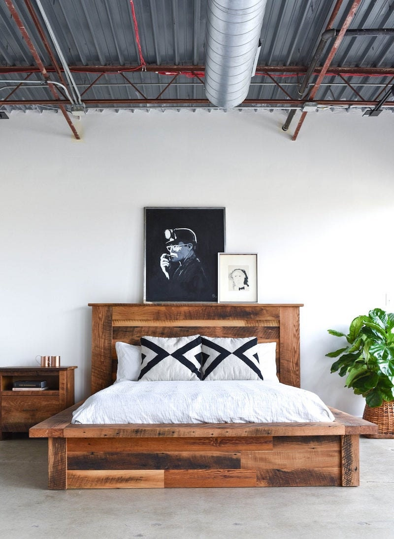 Reclaimed wood platform bed from What WE Make
