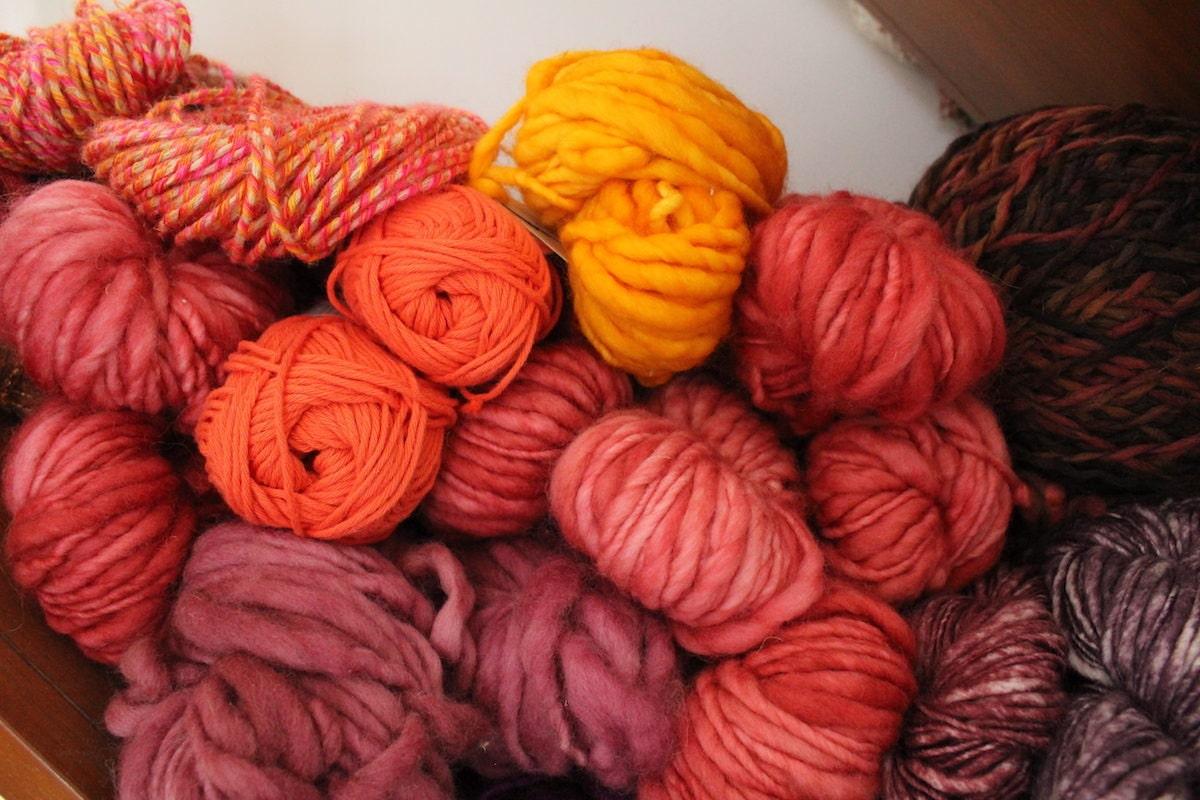 Balls of bright colorful yarn