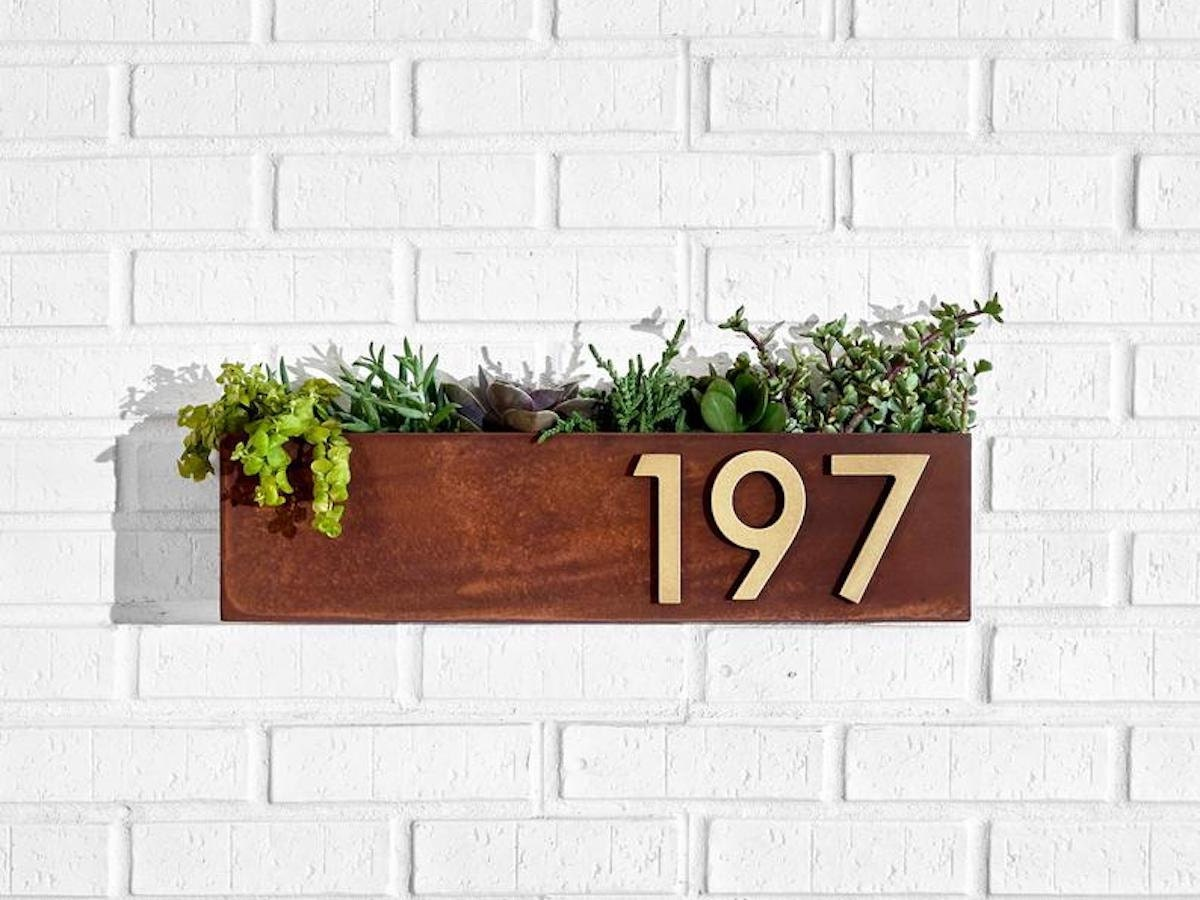 Modern address number planter from Etsy