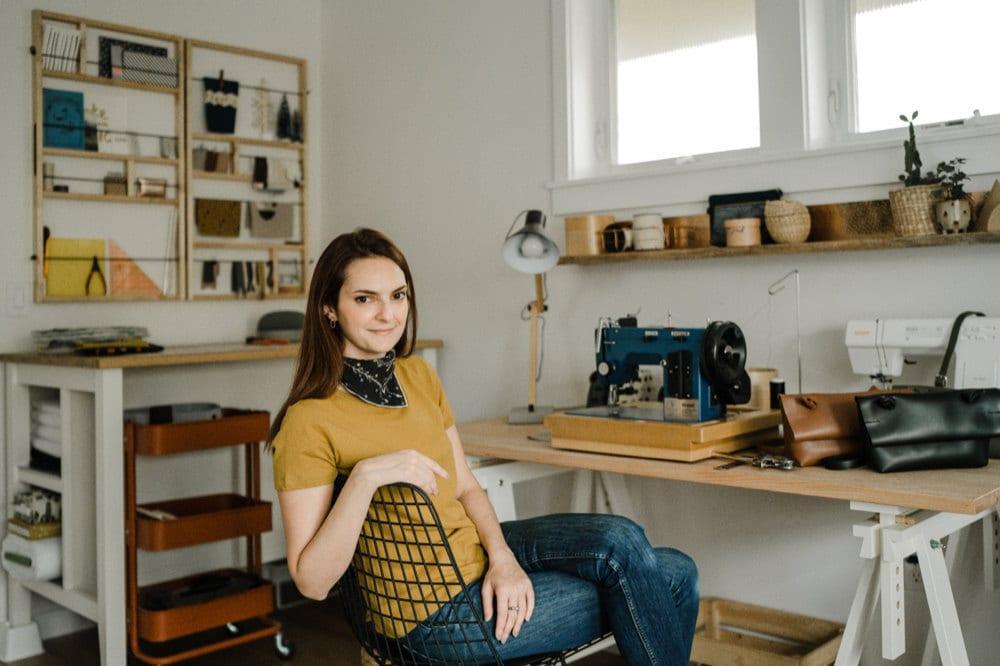 A portrait of Boejack Design owner Eda Atay Pastirmaci in her Seattle studio