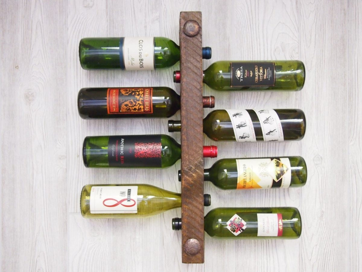 Handmade wood wine rack from Etsy seller Hewn And Forged