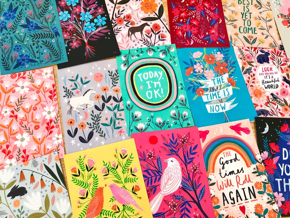 Assorted colorful floral postcards from Bonbi Forest