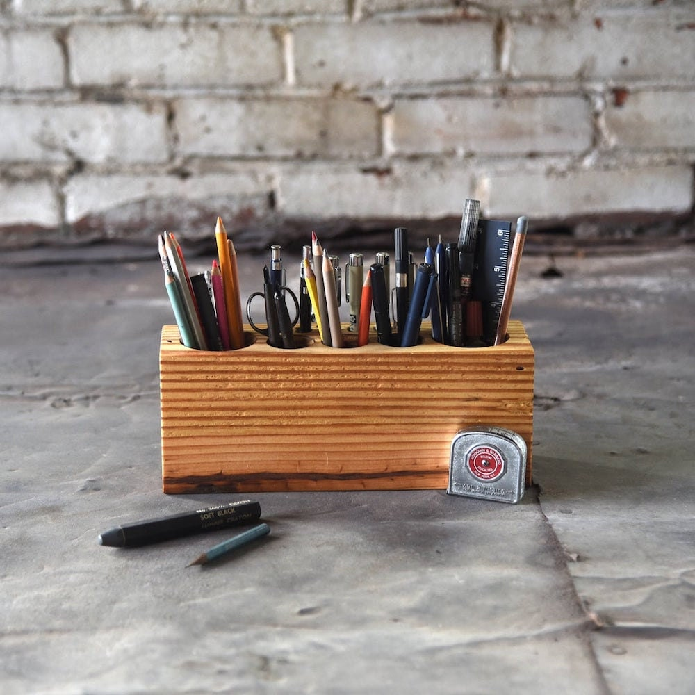 A large reclaimed wood pencil holder from Peg and Awl