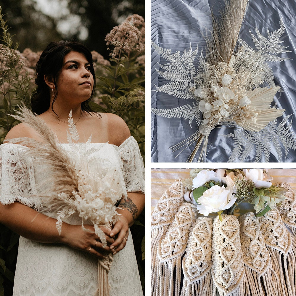 A collage of Sarah's bouquet and bouquet accessories, available to shop on Etsy.