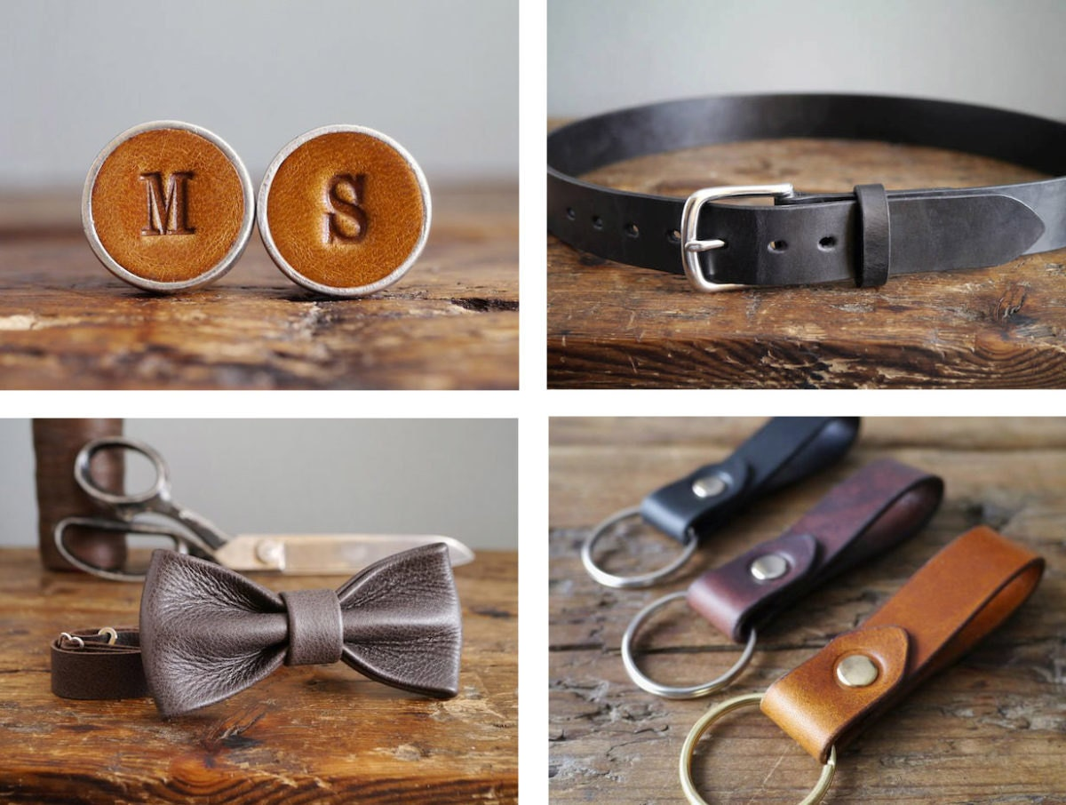 Personalized leather cufflinks, leather belt, leather keychains, and leather bow tie, all from Kingsley Leather