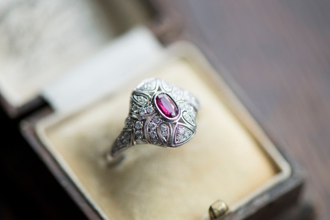 A ruby and diamond engagement ring from KK Vintage Collection
