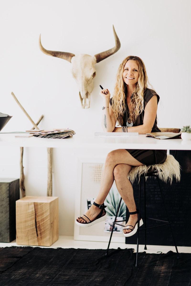 Portrait of Gretta Jones, the creative mind behind Ohio-based handmade indoor and outdoor furniture company, Bertu Home
