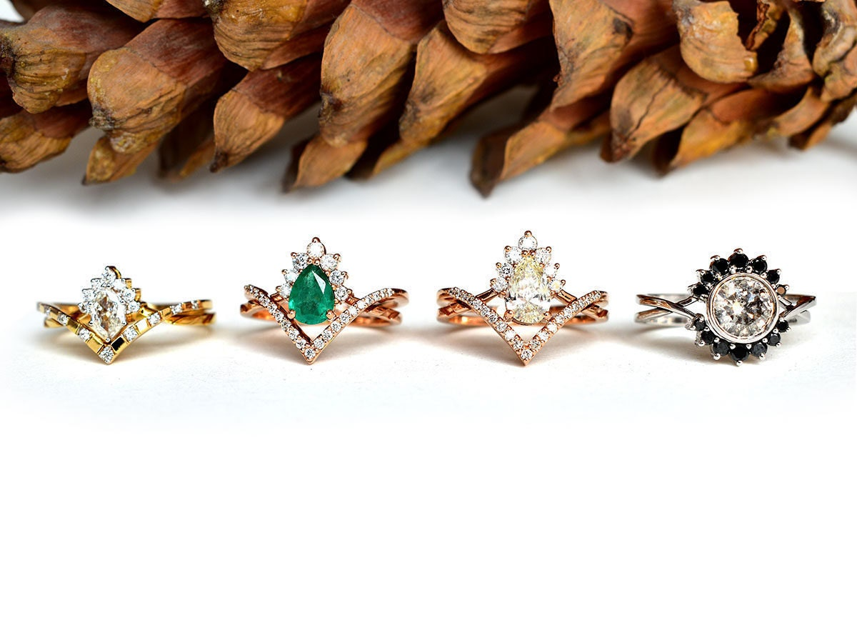 Four custom wedding ring sets from Abhika Jewels