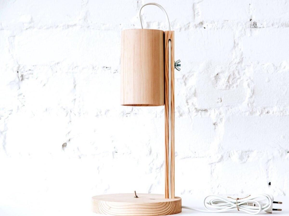 A wooden desk lamp from HVOYA