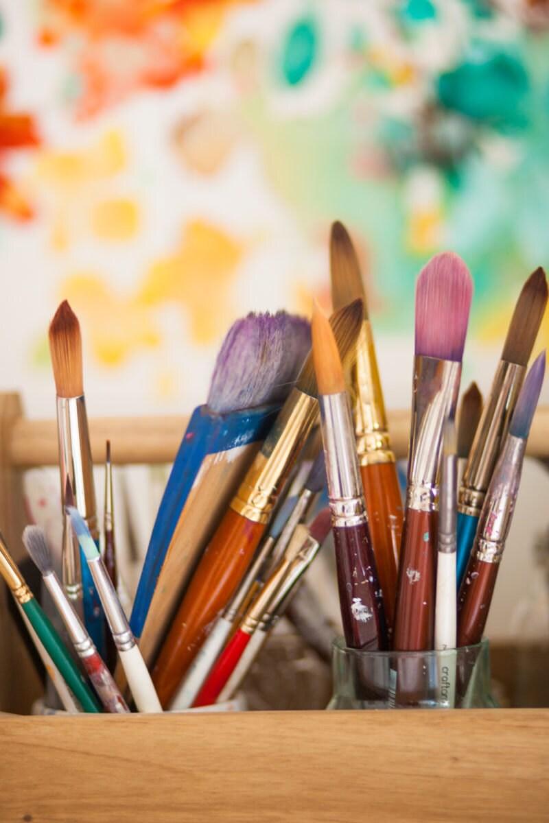 Paintbrushes awaiting use