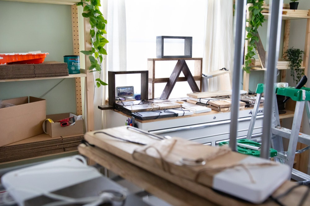 In progress shelving projects spread about Ilana's LA studio.