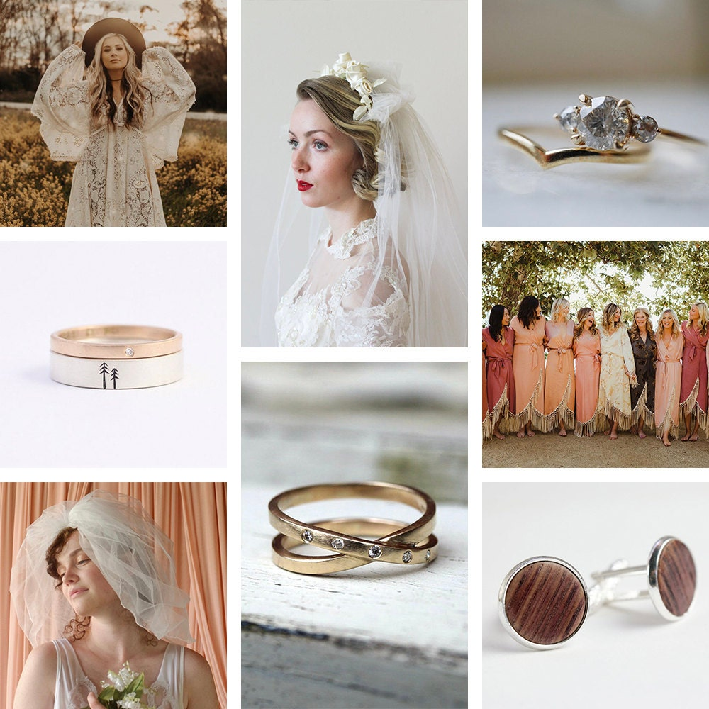 A collage of sustainable wedding styles from Etsy
