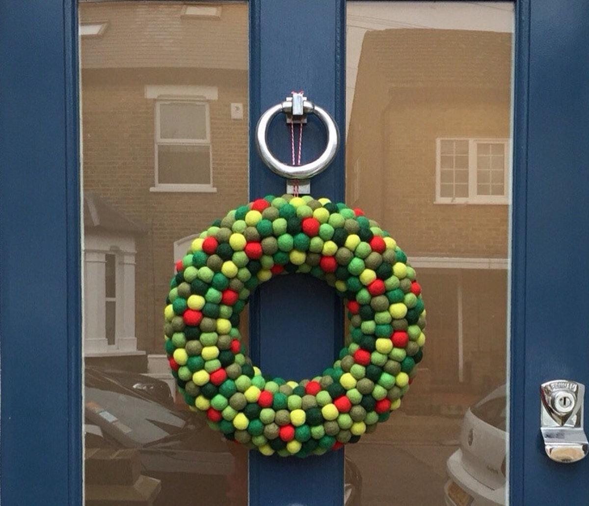 Holiday wreath made of felt balls