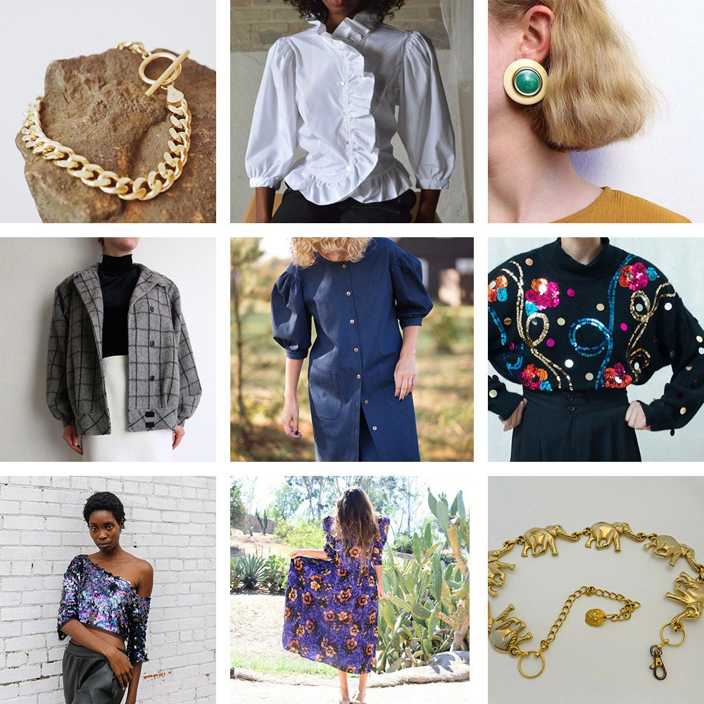 A collage of 80s-inspired clothes and accessories available on Etsy
