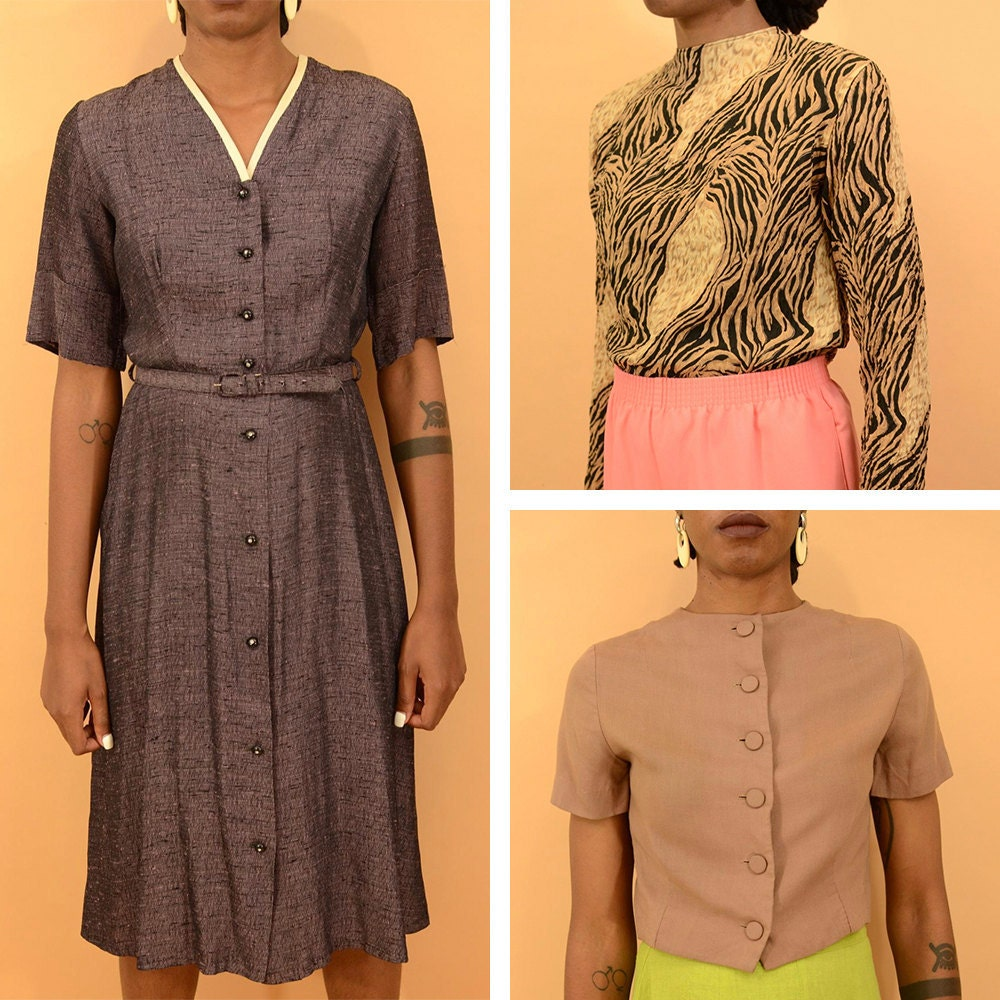 A collage of women's vintage clothing available from MAW SUPPLY.