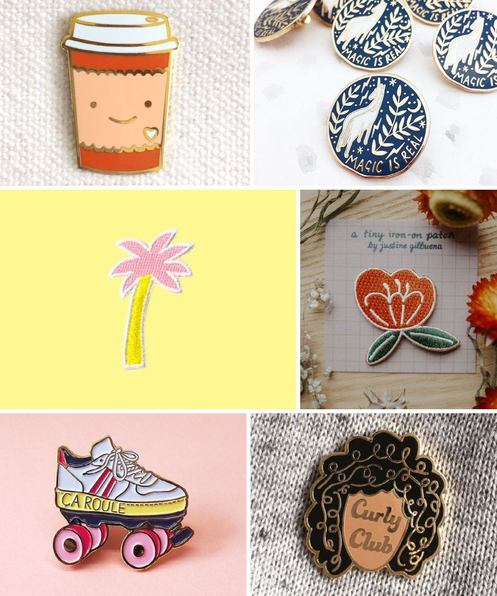 Enamel pins, embroidered patches, and other back-to-school supplies from Etsy