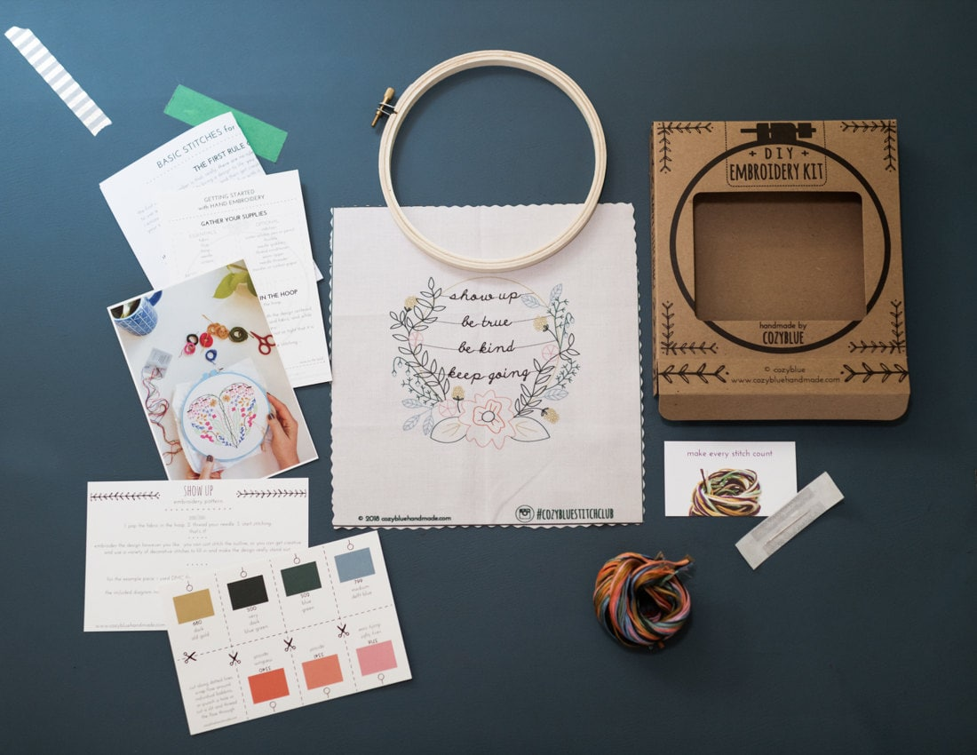 A flat lay of all the components of one DIY embroidery kit, including a pattern, instructions, floss, needles, and a hoop.