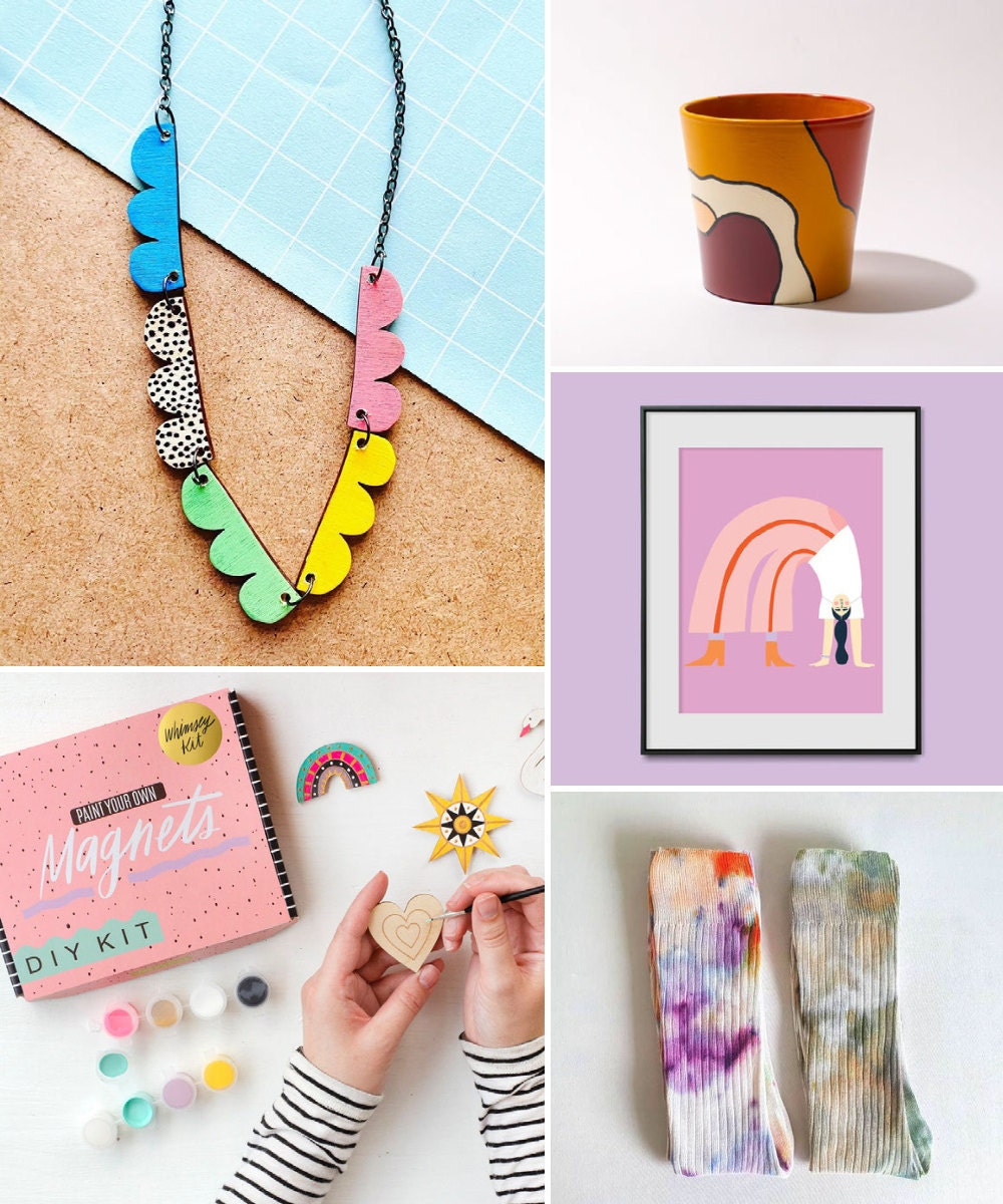 A collage of creative, colorful birthday gift ideas hand-picked for Gemini.