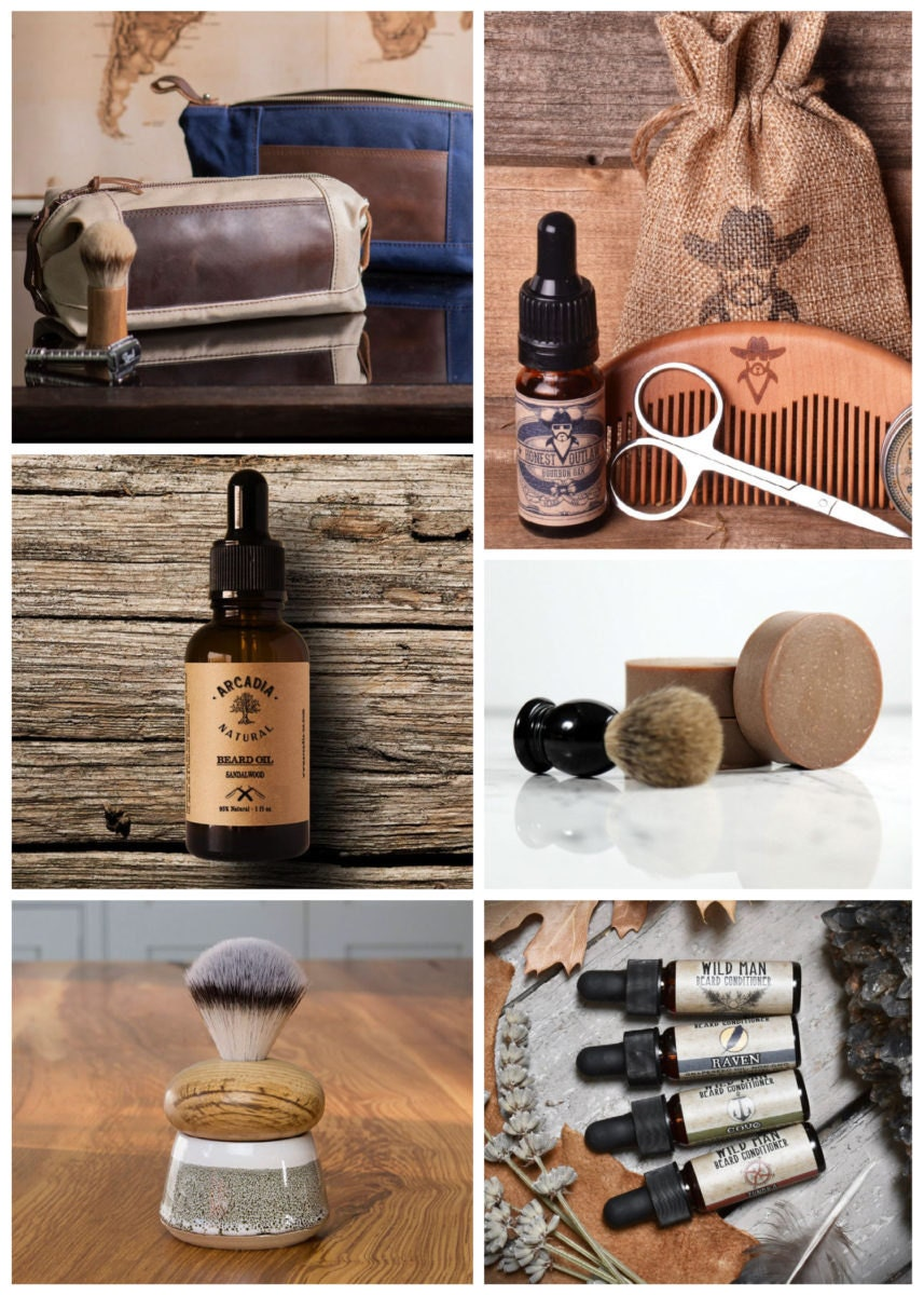 Collage of ready-made beard oils and beard care items from Etsy
