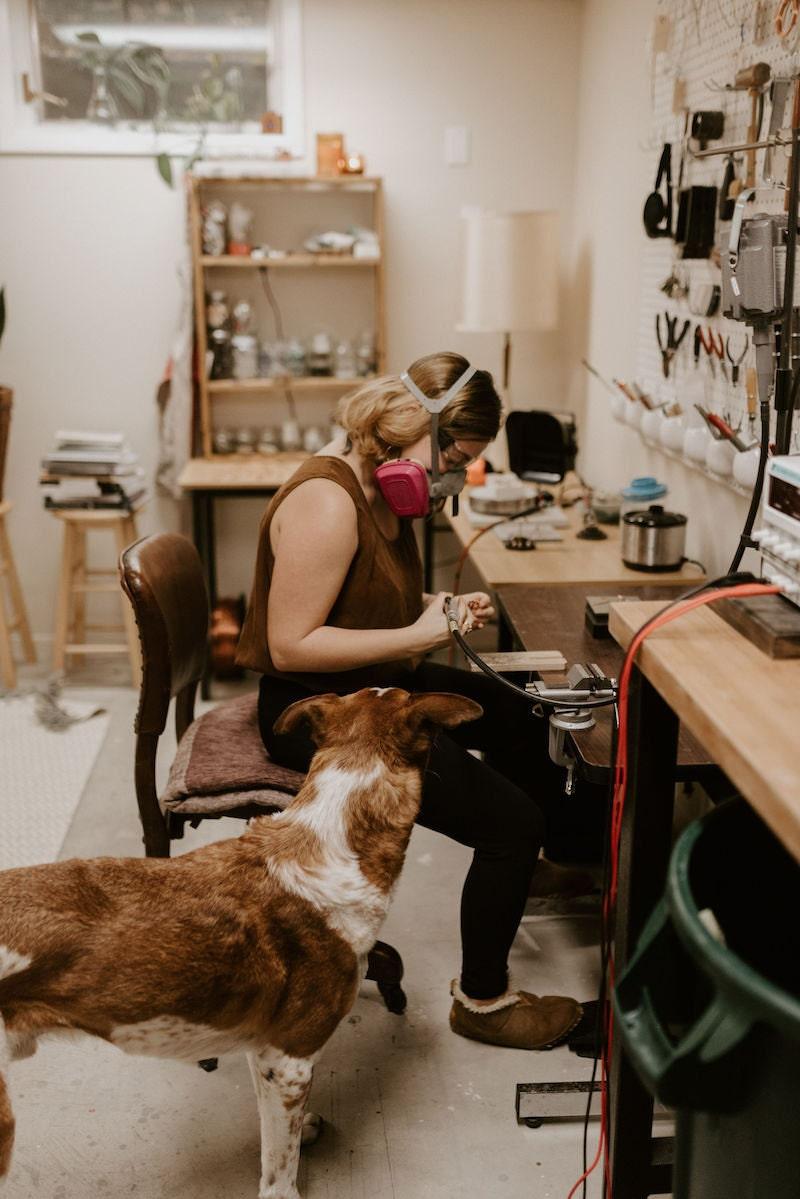 Alicia working in her studio