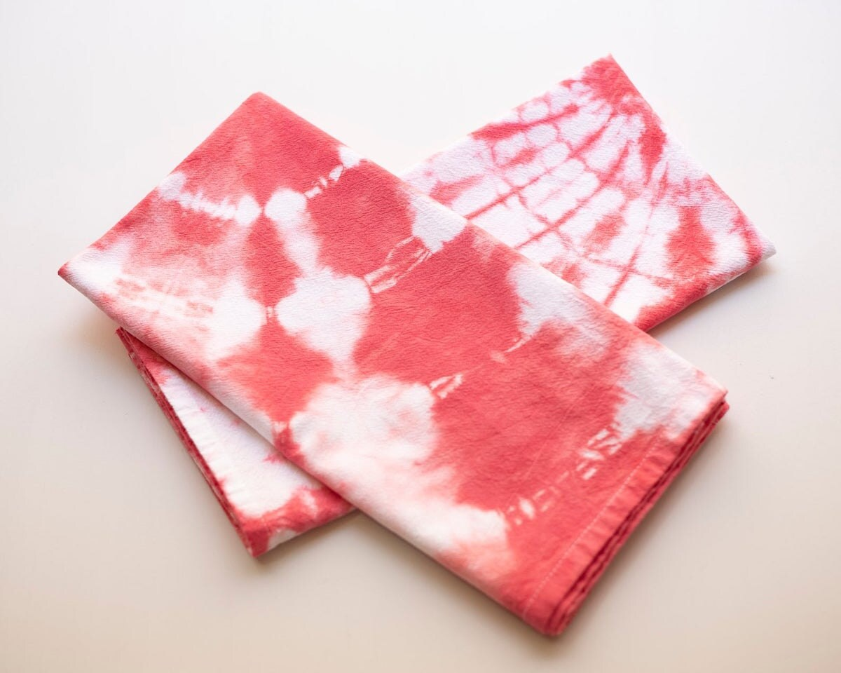 Tie-dyed tea towels from Etsy