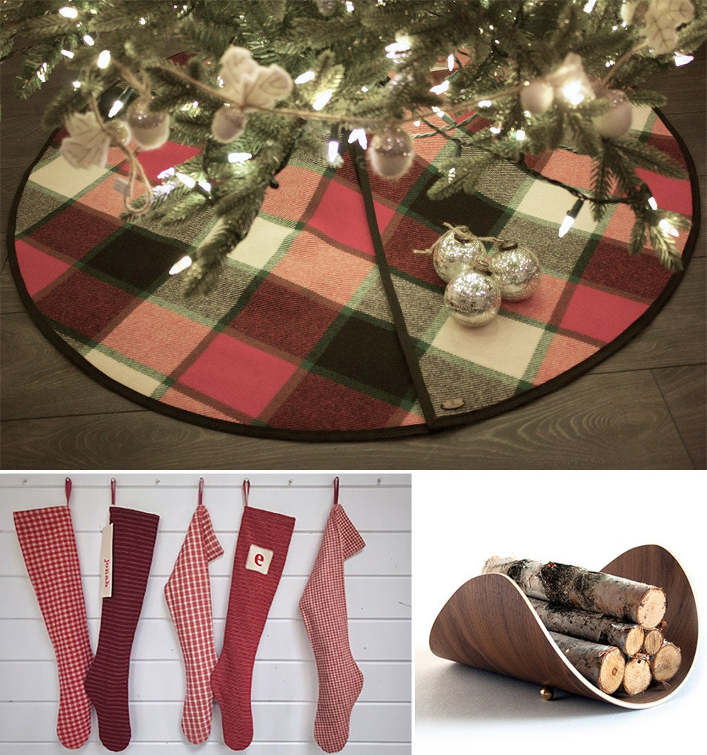 Log cabin-inspired holiday decor from Etsy