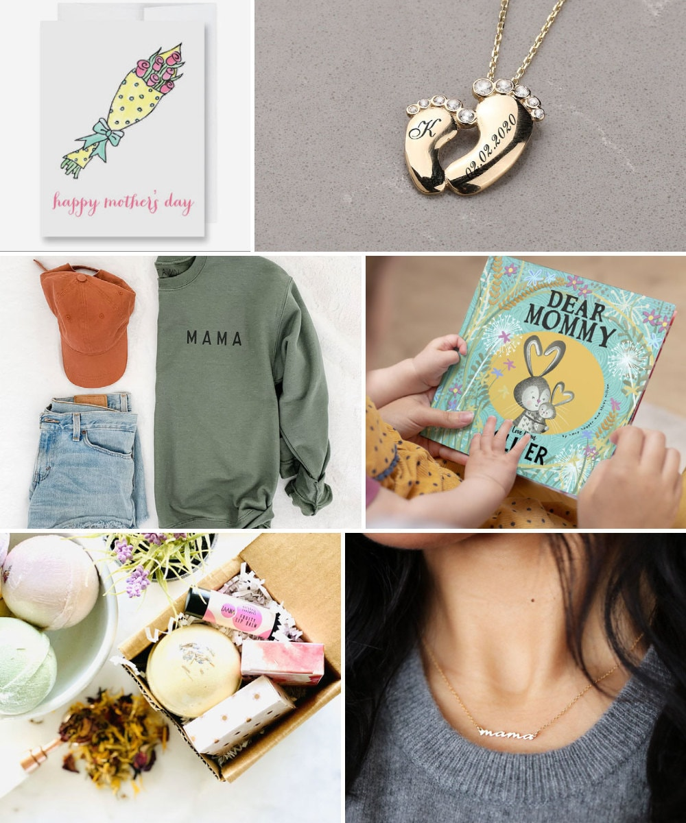 """Mother's Day gift ideas for new moms, including custom jewelry, cards, and personalized """"mom"""" apparel and accessories."""