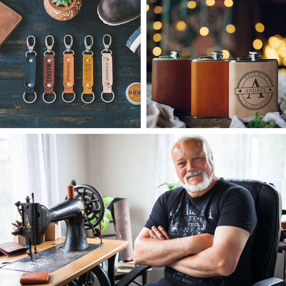 A collage featuring a portrait of Di Geordie leatherworker Yordan Yordanov alongside some of his personalized leather keychains and flasks.