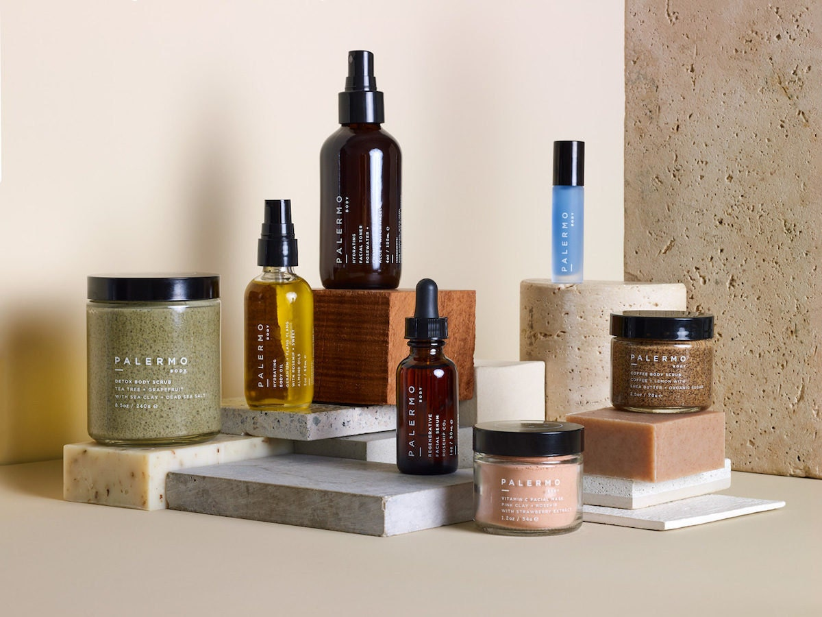 Assorted all-natural bath and beauty products from Palermo Body