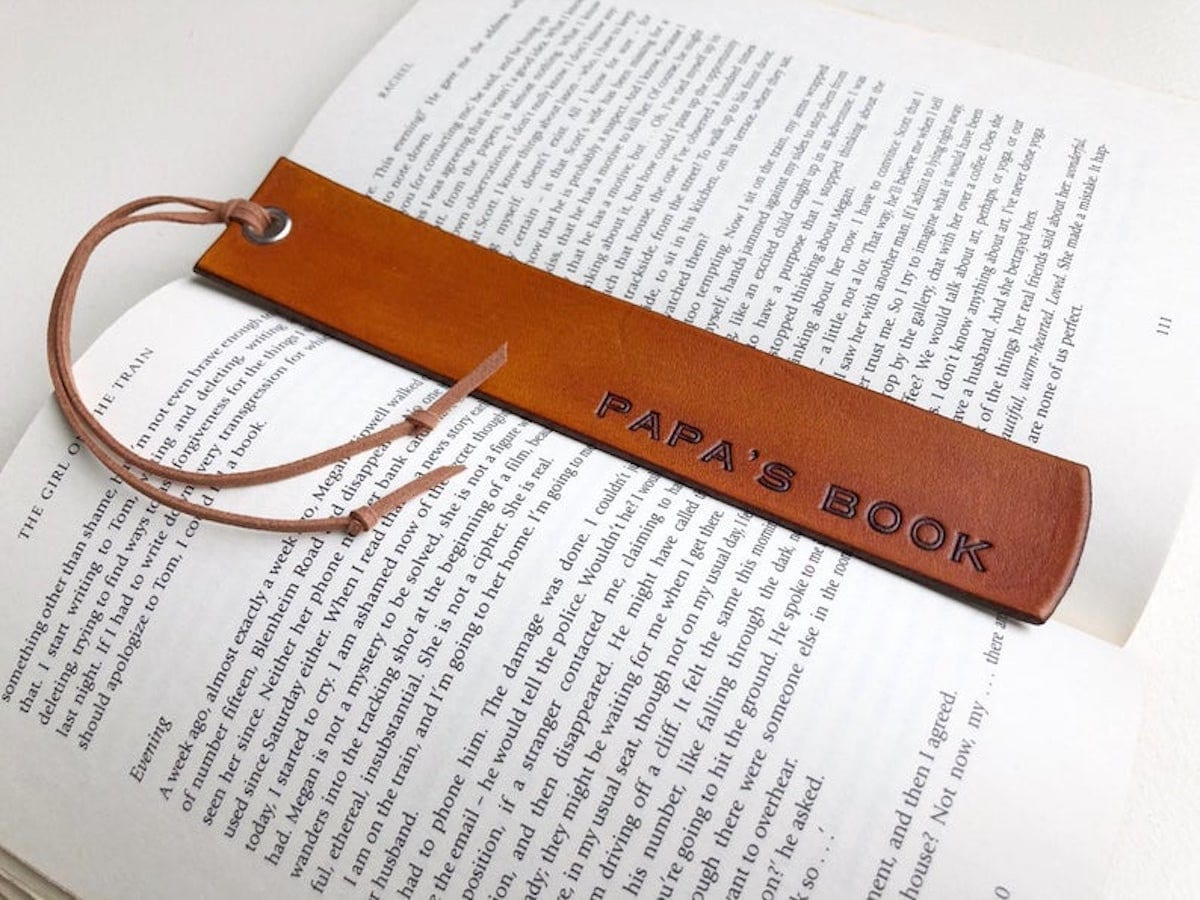 Custom leather bookmark from Anise Leather, and other personalized Father's Day gifts from Etsy