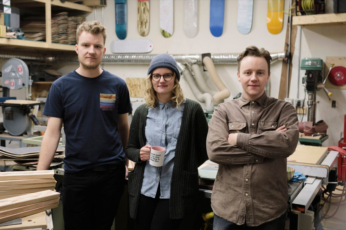 Portrait of the AdrianMartinus team in their Canada woodworking studio.