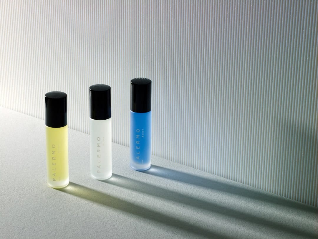 Curated image with Aromatherapy oils from Palermo Body, $35 each, $84 for three