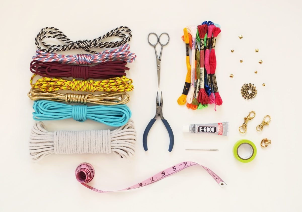 Supplies needed to make a nautical knot bracelet, from Etsy
