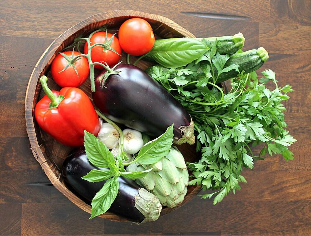 A bowl of fresh market produce
