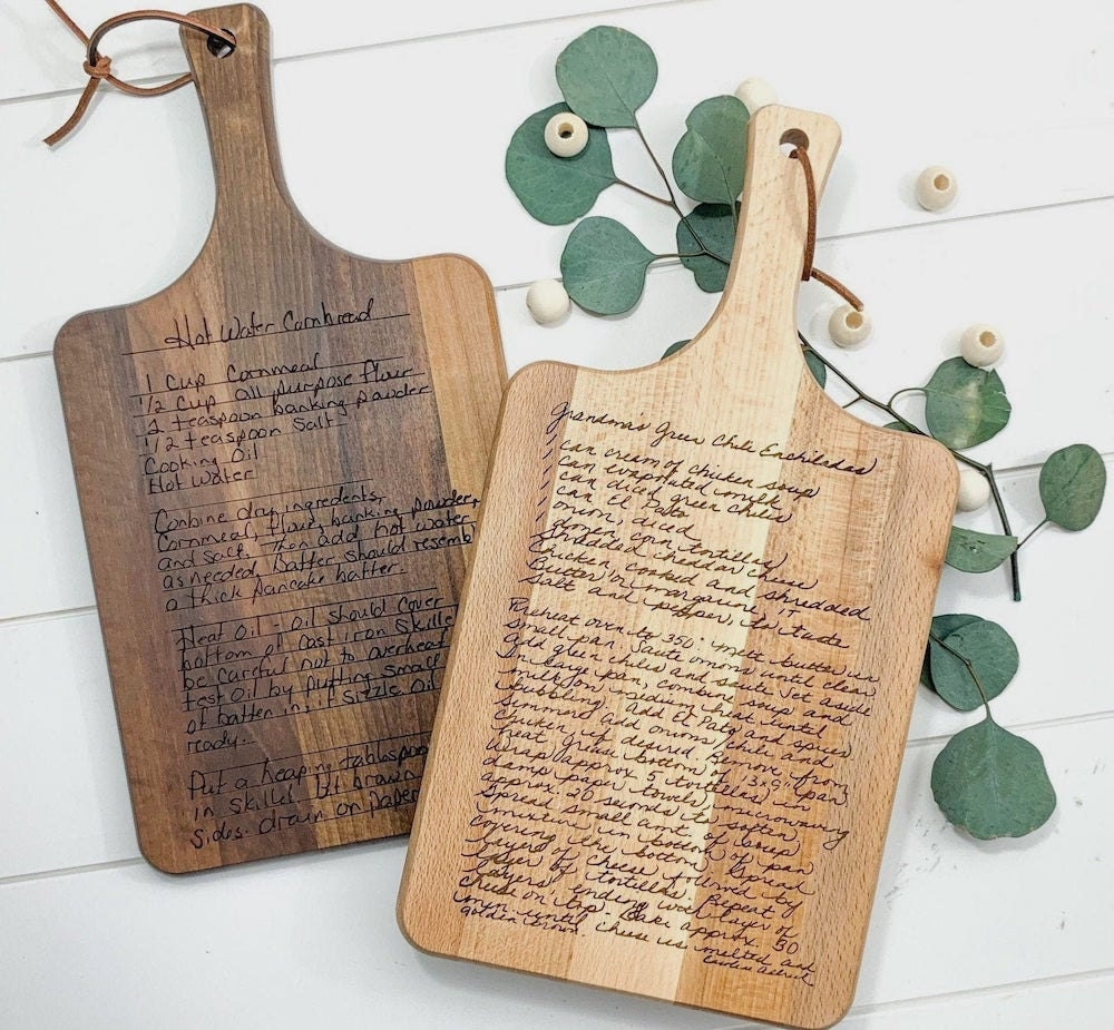 Personalized recipe cutting board from Morning Joy Co., on Etsy