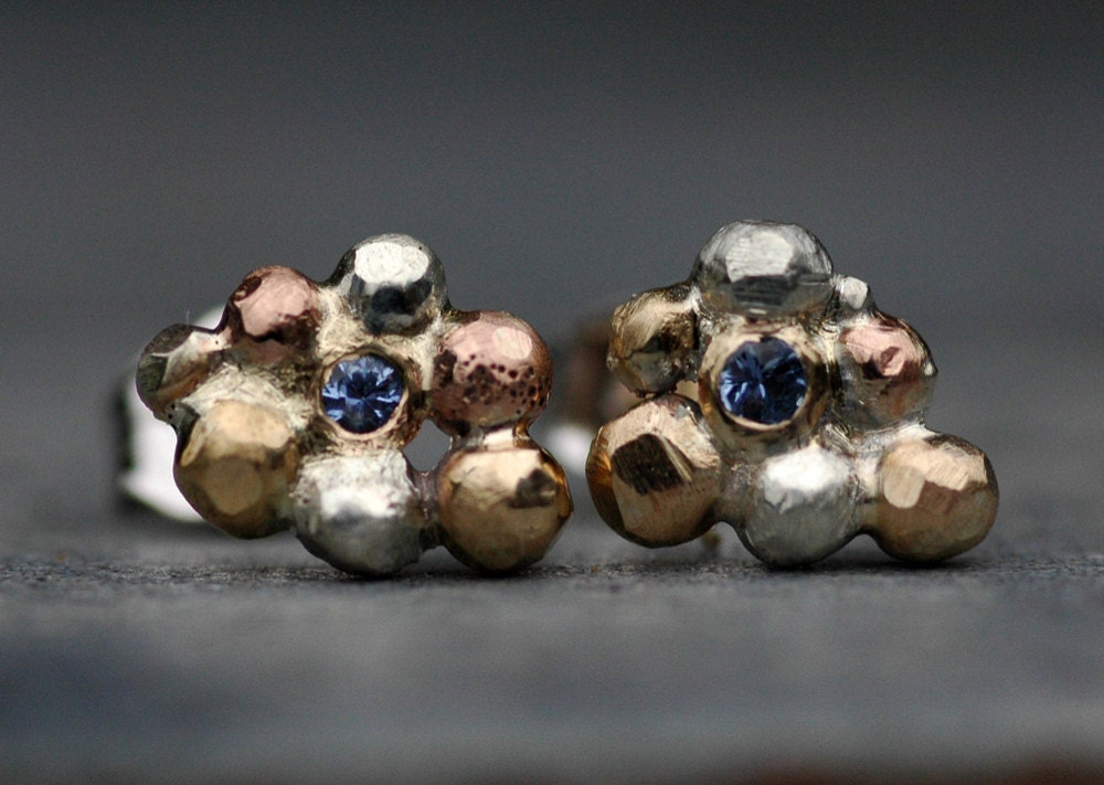 Sapphire orb cluster earrings from Specimental