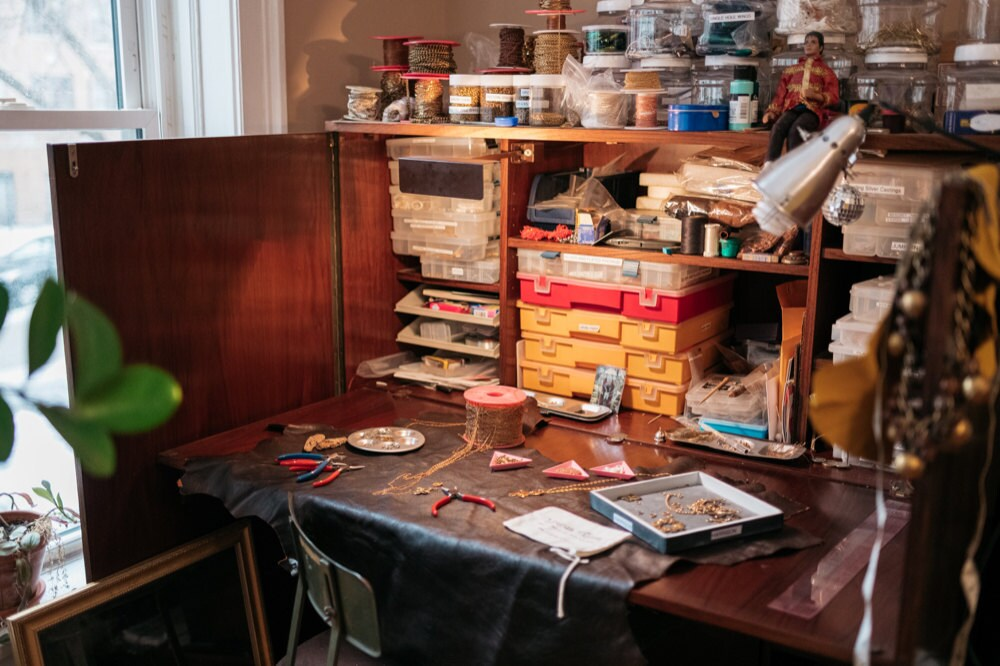 Alicia's workbench in her studio
