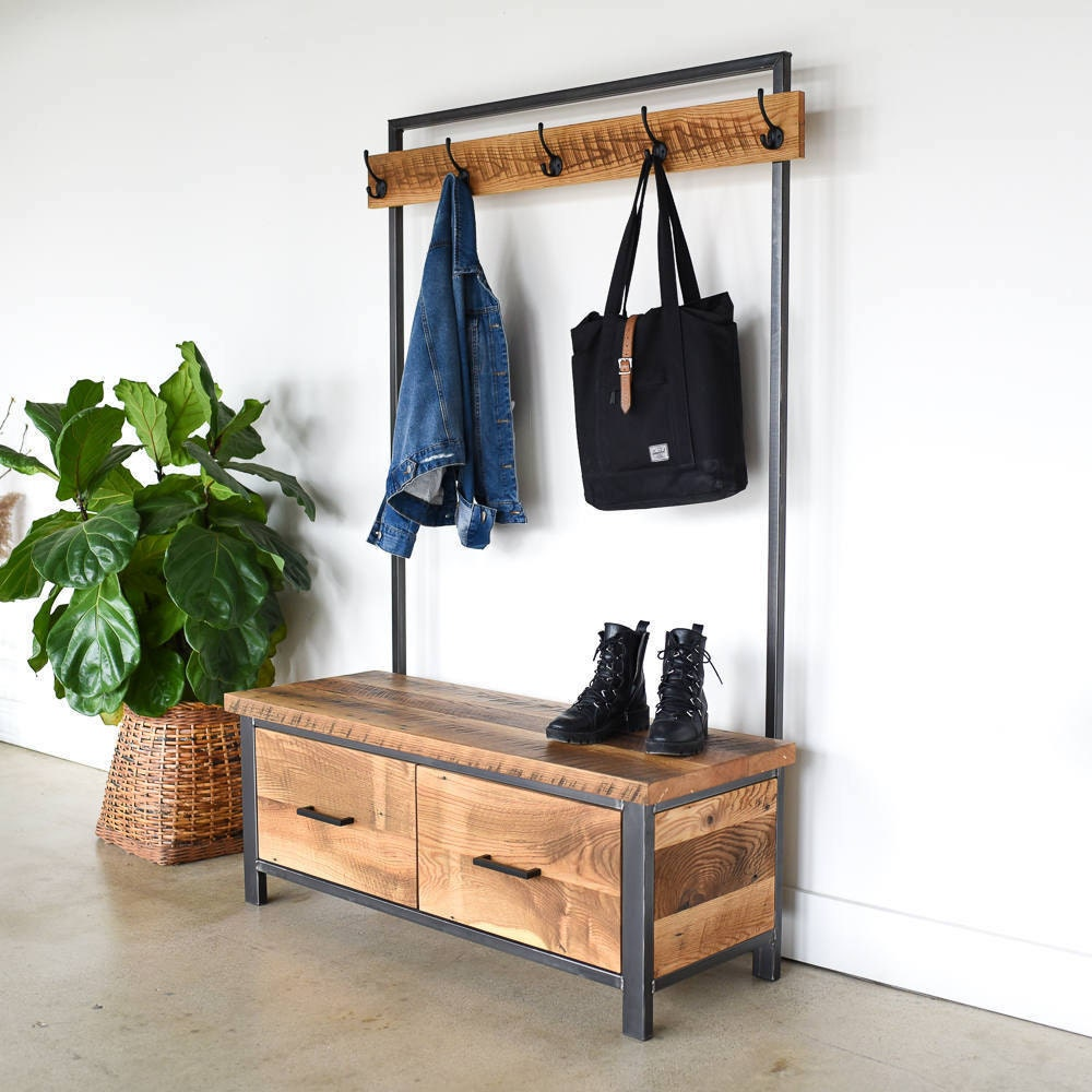 Reclaimed wood entryway organizer from What WE Make
