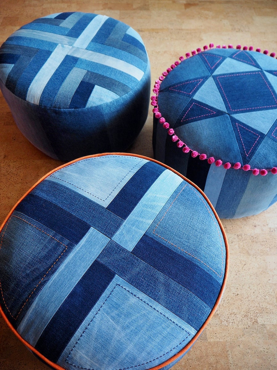 A quilted pouf pattern from Etsy