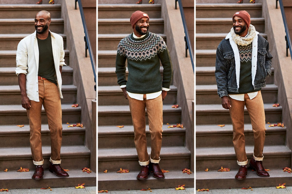 Three-image collage of a man wearing an increasingly layered fall look