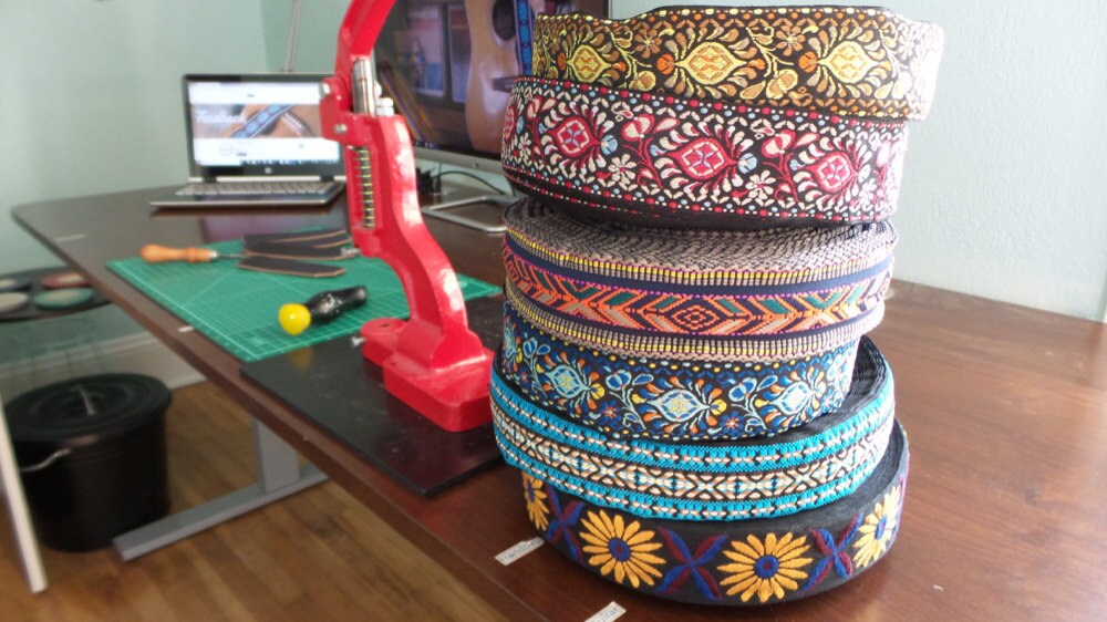 Colorful ribbons stacked up on Sarah's desk